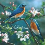 Blues on Blue - eastern bluebirds by Karen Latham signed 100dpi