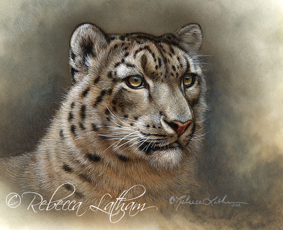 Snow Leopard miniature painting on ivorine