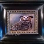 Skylord - Great Horned Owl, Watercolor on board with sterling silver and 24kt gold, 5 in x 7 in, ©Rebecca Latham, framed