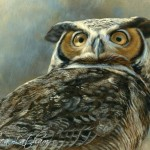 Skylord - Great Horned Owl, Watercolor on board with sterling silver and 24kt gold, 5 in x 7 in, ©Rebecca Latham