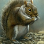 Squirrel Collection - all works are 5in x 7in, watercolor on board with sterling silver, ©Rebecca Latham