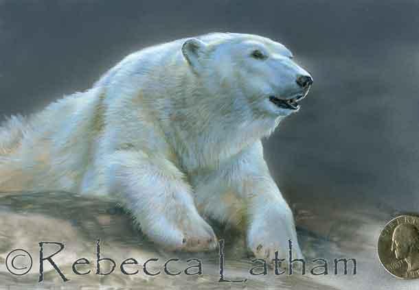 polar bear miniature painting